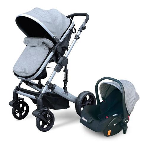 Cochecito de bebé Mega Baby Lanin de paseo gris con chasis plateado