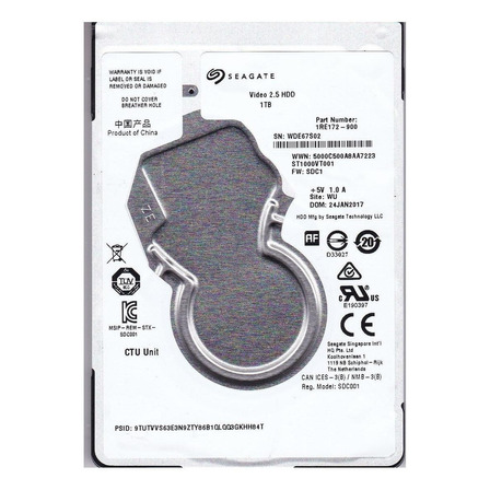 Disco rígido interno Seagate Video 2.5 HDD ST1000VT001 1TB
