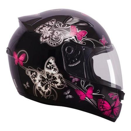 Capacete para moto integral EBF Capacetes New Spark Borboleta preto e rosa tamanho 58