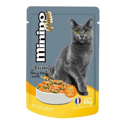 Alimento Minino Plus Recetas para gato adulto sabor pollo en caldo con verduras en sobre de 85g