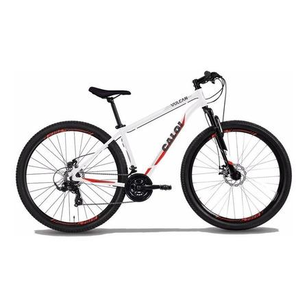 """Mountain bike Caloi Vulcan aro 29 17"""" 21v freios de disco mecânico câmbios Power Index y Shimano Tourney TZ300 cor branco/vermelho"""