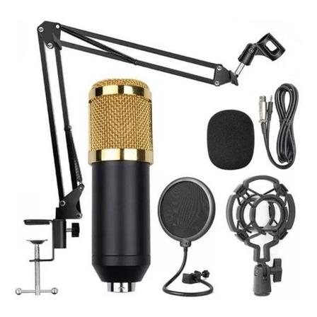 Microfone Hamy BM-800 condensador  unidirecional preto/dourado