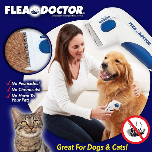 Peine Anti Pulgas- Cepillo Anti Pulgas Eléctrico P/mascotas