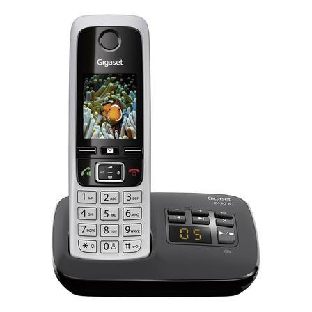 Teléfono inalámbrico Gigaset C430A Duo negro y plateado
