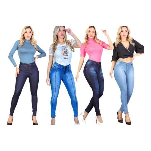 4 Calças Jeans Feminina Cintura Alta Com Lycra - Barata