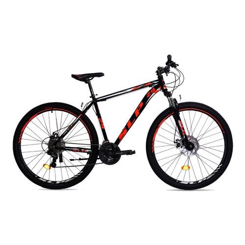 """Mountain bike SLP 5 Pro R29 18"""" 21v frenos de disco mecánico cambios SLP color negro/rojo con pie de apoyo"""