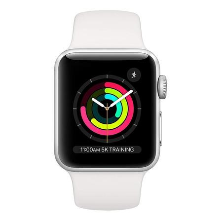 Apple Watch (GPS) Series 3 38mm caja 38mm de  aluminio  silver malla  white de  fluoroelastómero A1858