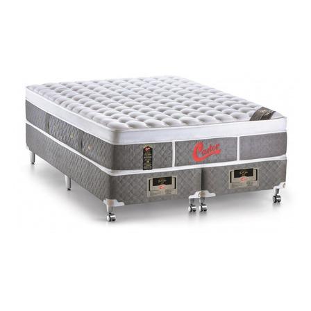Cama box Castor light stress Queen de  198cmx158cm cinza com base dividida