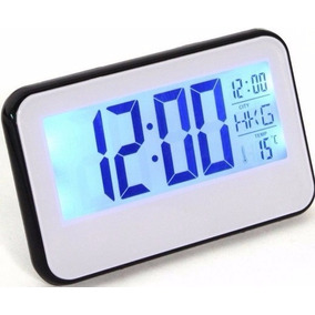 Relógio De Mesa Digital Data/hora Temperatura Led Azul Senso