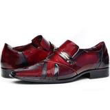 Sapato Social Maculino Gofer Verniz Design Couro Legítimo