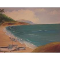 Quadro Pintura Oleo S/tela Paisagem Praia