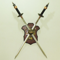 Cj 2 Espada Com Suporte De Parede Sabre Medieval Machado