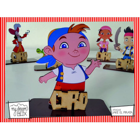 Souvenir Aplique Personalizado Madera 30cm Jake Pirata Cubby