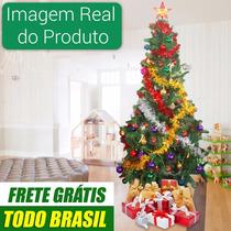 Árvore De Natal Verde Decorada 2,10m Com Pisca Led 220v