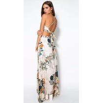Saia Floral Longa Com Blusa Cropped - Frete Grátis