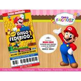 Mario Bros Mb001::: Invitacion Digital Imprimible Y Whatsapp