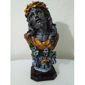 Escultura De Resina Busto De Cristo Negro Con Pedestal 36cm