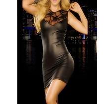 Sexy Vestido Imitación Piel Con Encaje Oferta! De Noche Sexy
