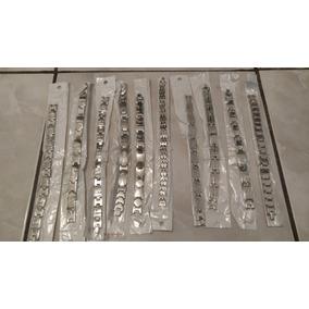 Bracelete Pulseira Masculina Aço Inox Prata - 10 Peças