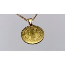 Colar Corrente Pingente Medalha Sao Bento Folheado Ouro 18k
