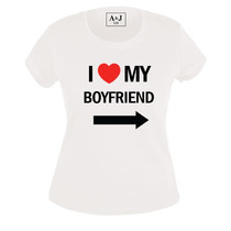 Paquete 2 Playeras Estampadas I Love My Girlfriend/boyfriend