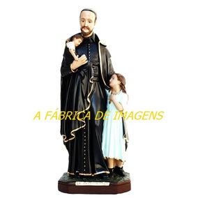 Escultura São Vicente Paula Imagem 60cm Estatua Gesso Oferta