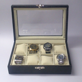 Caixa Maleta Estojo 8 Relógios Couro Ecológico Com Vidro