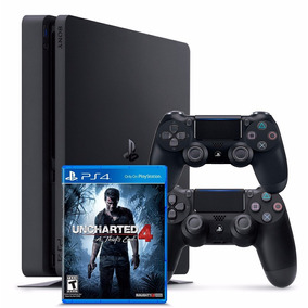 Playstation 4 Slim 1tb Sony Ps4 C/ Uncharted 4 + 2 Controles