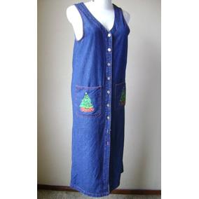 Vestido De Mezclilla Con Bordados Navidad Talla 6p Vst642