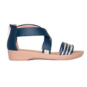 Sandalias Tipo Piccadilly Acolchadas En Cuero Azul Sinteti