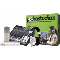 Combo Behringer Podcast Fire Consola Interfaz Mic Audifonos