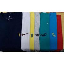 Kit 5 Camisetas Básicas Lisas Bordadas Grifes Moda Atacado