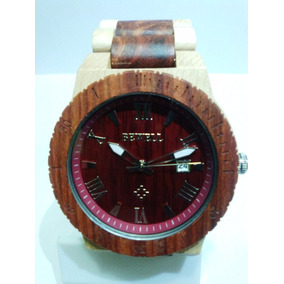 Reloj De Madera Natural Maple Y Sándalo, Casual Y Exclusivo