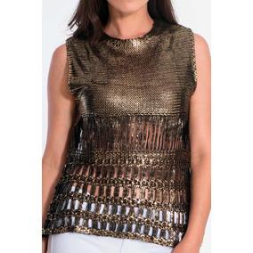 Blusa Regata Tricot Dourada Feminina Marca My Place Promoção