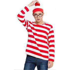 Gorro + Óculos Estilo Onde Esta Wally Fantasia