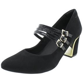 Sapato Feminino Salto Médio Preto - U6212 Usaflex