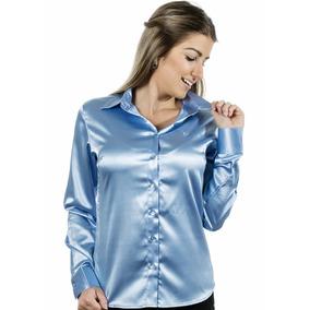 Camisa Feminina Aqua - Cetim Com Elastano - Pimenta Rosada