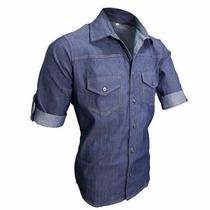 Camisa Jeans Azul Slim Fit Esporte Fino Casual Manga Curta