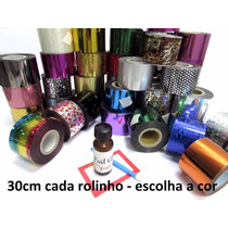 Kit Foil 18 Rolinhos + Cola 3d Unha Acrilico Gel + Aplicador