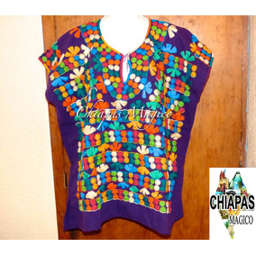 Exclusiva Blusa De Chiapas Bordada A Mano / Talla 3xl /manta