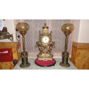 Relogio De Mesa Bronze E Porcelana Jpgyn