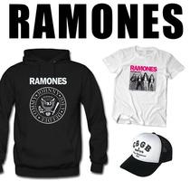 Combo Ramones Buzo Canguro Con Capucha + Remera + Gorra Cbgb