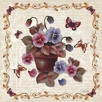 Guardanapo Para Decoupage By Mamiko Amor Perfeito No Vaso