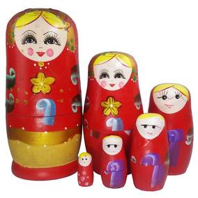 Conjunto Com 6 Bonecas Em Madeira Matrioskas Russas Média