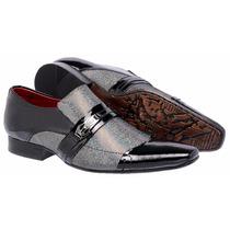 Sapato Social Couro Bico Fino Preto Com Prata Masculino
