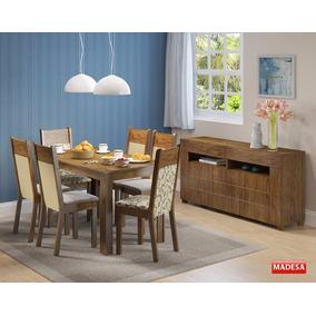 Conjunto Sala Jantar Mesa 6 Cadeiras Buffet Honduras Crema