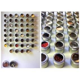 6 Potes Porta Temperos Em Aço Inox Imã Base C Suporte A52