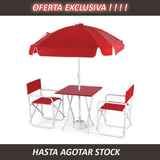 Mesa + Sombrilla Con Base + 2 Sillón Director. Oferta !!!!!!