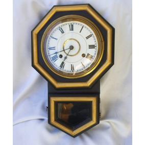 Antiguo Reloj De Pared Con Péndulo Llave Ansonia Envíos Tx