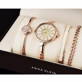 Reloj Anne Klein D Dama Ak1470rg Set Acero Oro Rosa Original